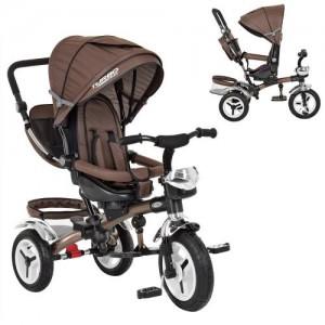 Велосипед M 3200A-13 (1шт)три кол.рез (12/10),колясочн,поворот,перед.корзина,сумка,шоколад