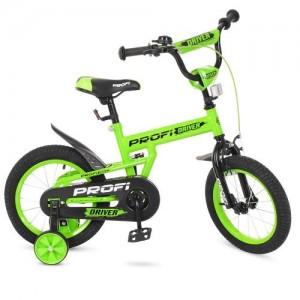 Велосипед детский PROF1 14д. L14113 (1шт) Driver,салатовый,доп.колеса