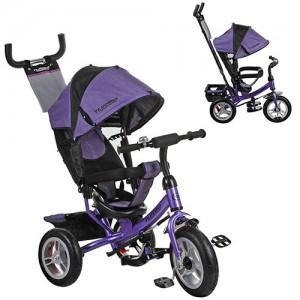 Велосипед M 3113-8A (1шт)три кол.резина (12/10),колясочн,тормоз,подшипн,фиолетов.