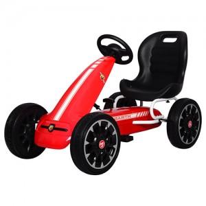 Карт M 3659E-3 (1шт) жел,педальный,ручной тормоз,EVA колеса,цепная передача, красн