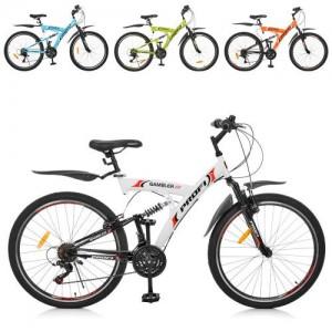 Велосипед 26 д. G26GAMBLER S26MIX (4шт) сталь,рама 19,5', SHIMANO 18SP,алюм.VB,МИКС цветов
