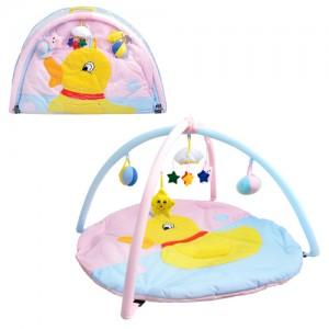 Коврик для младенца W 8313 (18шт) круглый, 85см, дуги 2шт, подвески 5шт, в сумке, 83-55-3см