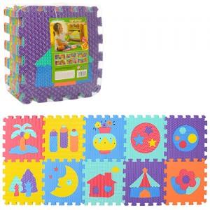Коврик Мозаика M 3518 (10шт) EVA,10дет(10мм,31-31см), массаж,пазл,6текстур,в кульке,31,5-31,5-10см
