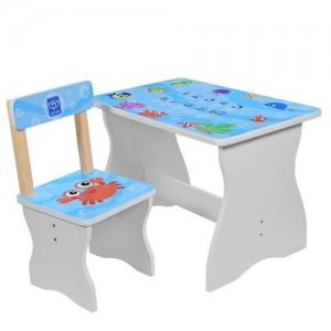 Столик 504-40 (1шт) столеш60-40см/выс.до стол44см,стульчик д28-ш28-в53,5см/высот.до сид.27см,рыбки