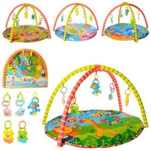 Коврик для младенца 604-4-5-6-7-8B (18шт) 76-76-1см,дуга2шт,подвес-погремуш5шт,5в,в сумке, 61-54-5см