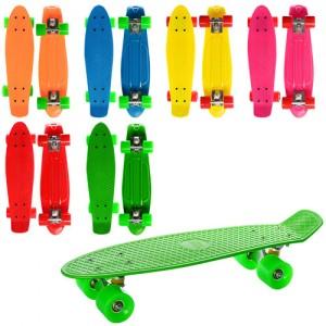 Скейт MS 0848 (6шт) пенни, 55-14,5см(пластик-антискол), алюм. подвеска, колесаПУ,подш608Z,6 цветов,