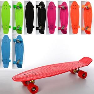 Скейт MS 0851 (6шт) пенни,66-18,5см,алюм.подвеска,колесаПУ,подшABEC-7,6цвет,макс.нагруз.60кг,разобр