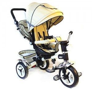 Велосипед M 3199-7HA (1шт)три кол.рез (12/10),колясочн.,поворот,муз.,свет,торм.,сумка,бежевый