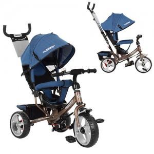 Велосипед M 3113J-13 (1шт)три кол.EVA (12/10),колясочный,торм.,подшипн,звонок,джинс,шоколад