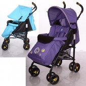 Коляска детская M 3422-2 (2шт) прогулочн,трость,колеса4шт,рег.спинка,5-ти точ.рем,2цвета голуб/фиол