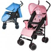 Коляска детская M 3421-1 (2шт) прогулочн,трость,колеса4шт,рег.спинка,5-ти точ.рем,2цвета голуб/розов